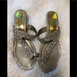 Shoes - New York gold rhinestone sandal 9